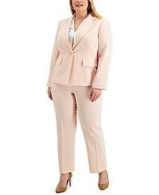 Plus Size Single-Button Crepe Pantsuit