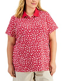 Plus Size Printed Polo Shirt, Created for Macy's