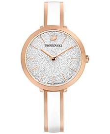 Women's Swiss Crystalline Delight Rose Gold-Tone & White PVD Stainless Steel Bangle Bracelet Watch 32mm