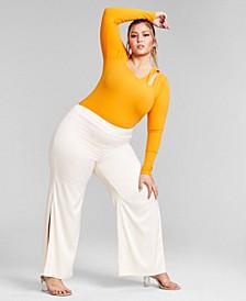 Trendy Plus Size Asymmetrical Cutout Bodysuit, Created for Macy's