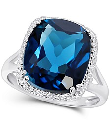 London Blue Topaz (10 ct. t.w.) & Diamond (1/6 ct. t.w.) Statement Ring in 14k White Gold