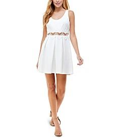 Juniors' Lace-Waist Fit & Flare Dress
