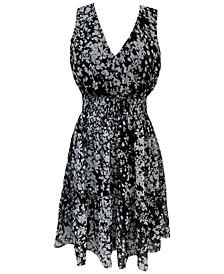 Petite Printed Sleeveless Peasant Dress