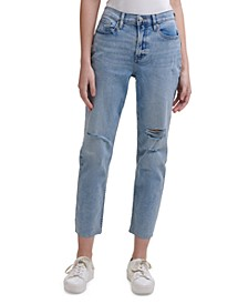 High-Rise Distressed Ankle Jeans