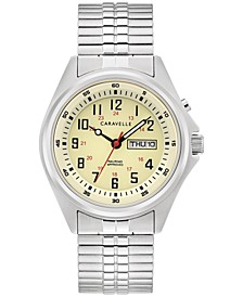 Men's Traditional Stainless Steel Expansion Bracelet Watch 40mm