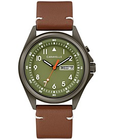 Men's Traditional Brown Leather Strap Watch 40mm