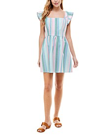 Juniors' Striped Smocked-Back Fit & Flare Dress