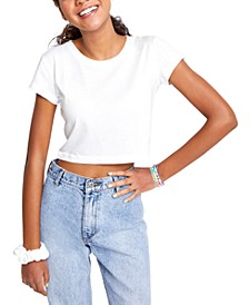 Juniors' Vista Contrast-Stitched Cropped T-Shirt