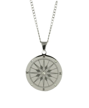 Men's Stainless Steel Compass Necklace