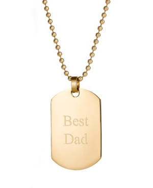 """Men's Gold Plated Medium """"Best Dad"""" Stainless Steel Dog Tag Necklace"""