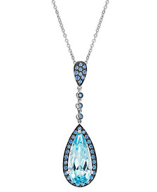 Sterling Silver Blue Topaz (5 ct. t.w.) and Blue Swarovski Zirconia (7/8 ct. t.w.) Pendant Necklace