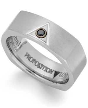 Proposition Love Cobalt Triangle and Diamond Accent Wedding Band