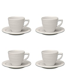 Essentials 4 Oz Porcelain Cup Saucer, Set of 4