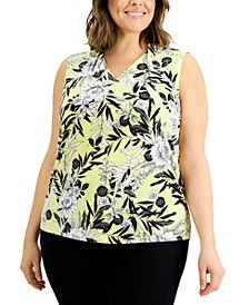 Plus Size Printed V-Neck Top
