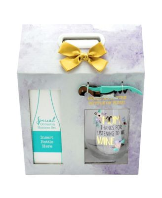 Listen to Me Wine Hostess Set with Oversized Stemless Wine Glass and Corkscrew