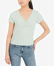 Juniors' Pointelle Ruched-Front Top