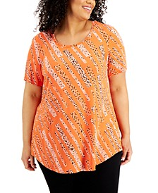 Plus Size Printed Short-Sleeve Top, Created for Macy's