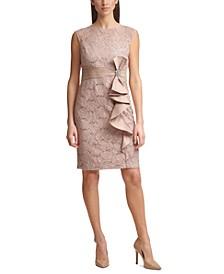 Petite Cascade-Ruffle Sheath Dress