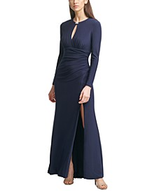 Keyhole-Cutout Gown