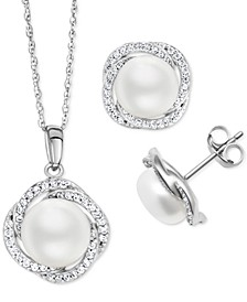 2-Pc. Set Cultured Freshwater Pearl (9mm) & White Zircon (1-1/5 ct. t.w.) Pendant Necklace & Matching Stud Earrings in Sterling Silver
