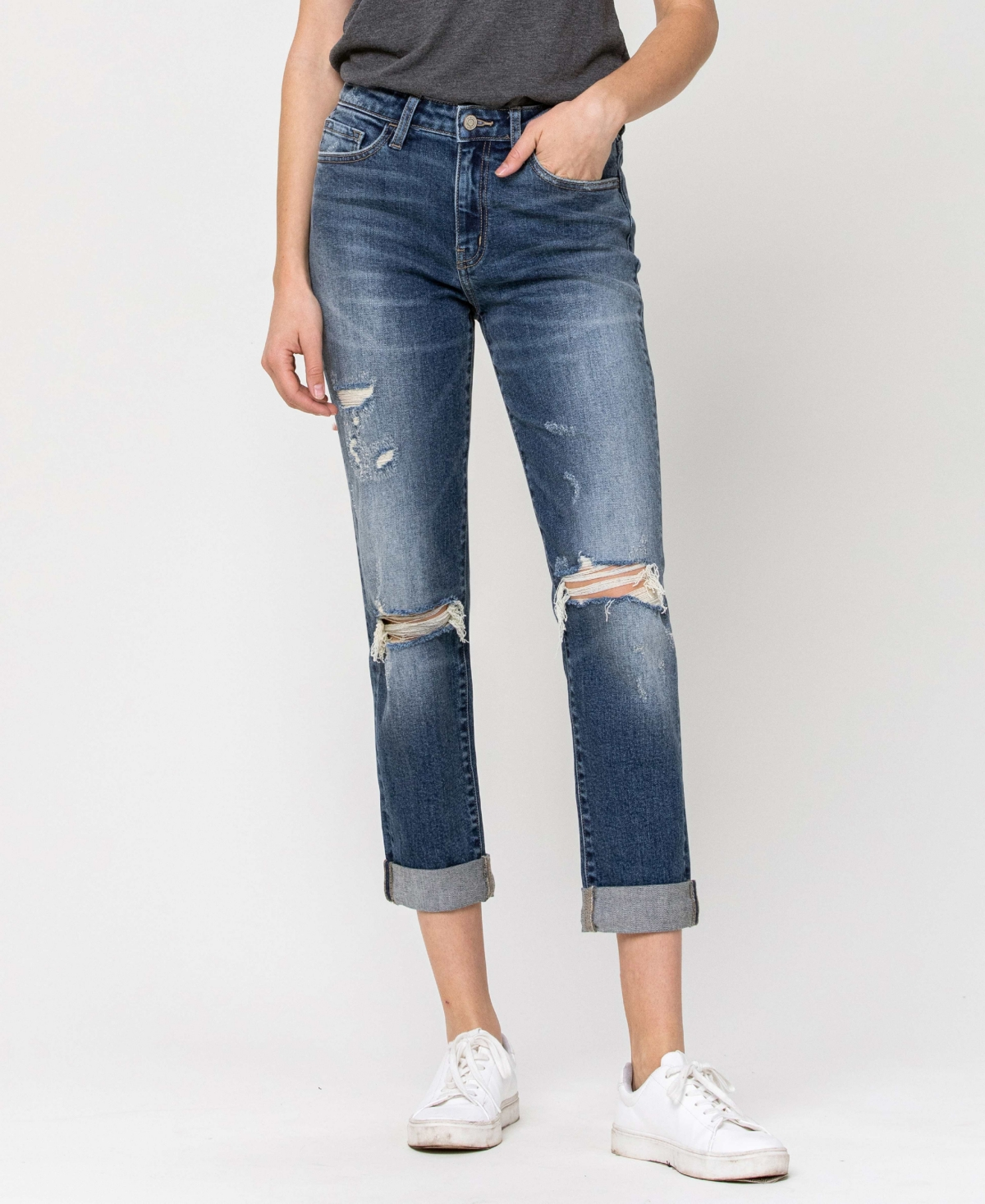 Women's Distressed Roll Up Stretch Mom Jeans