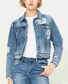 Women's Distressed Classic Fit Denim Jacket