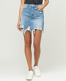 Women's Heavily Distressed Uneven Raw Hem Mini Denim Skirt