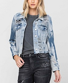 Women's Rigid Classic Crop Blue Tie Dye Denim Jacket
