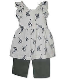 Baby Girls 2-Pc. Giraffe Tunic & Woven Capri Set