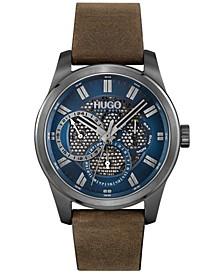 Men's #Skeleton Brown Leather Strap Watch 44mm
