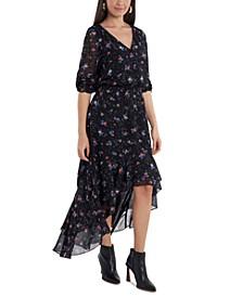 Printed Asymmetrical Midi Dress