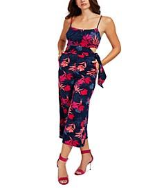 Printed Side-Cutout Sleeveless Jumpsuit