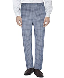 Men's Slim-Fit Flex Stretch Plaid Suit Pants