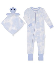 Baby Boys 1-Piece Cloud-Print Coverall with Blankie Baby