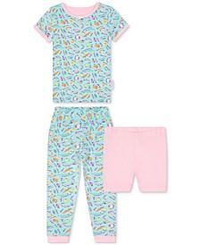 Baby Girls 2-Piece Vegetable-Print Pajama Set with Shorts