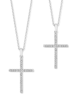 """2-Pc. Set Diamond """"Wear One Share One"""" Cross Pendant Necklaces (1/5 ct. tw) in Sterling Silver"""
