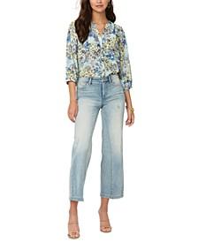 Teresa Wide-Leg Cropped Denim Jeans
