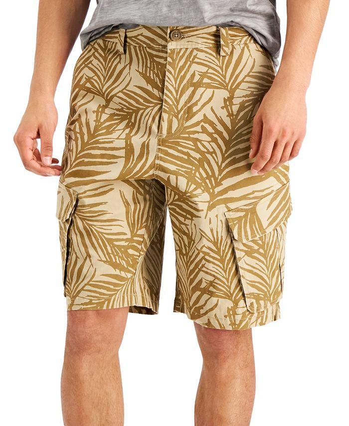 "Sun + Stone Ainsley Men's Palm-Print Stretch 8"" Cargo Shorts"