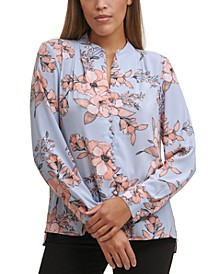 Petite Floral-Print V-Neck Button-Front Top