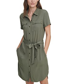 Juniors' Lyocell Shirtdress