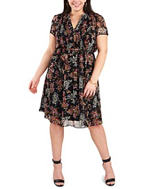 Plus Size Chiffon Pin-Tucked Floral Shirtdress