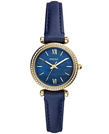 Women's Carlie Mini Gold-Tone Navy Leather Strap Watch 28mm