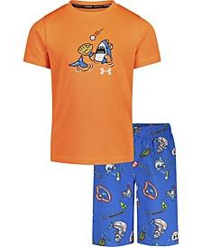 Little Boys Shark Pool T-Shirt and Swim Shorts Set