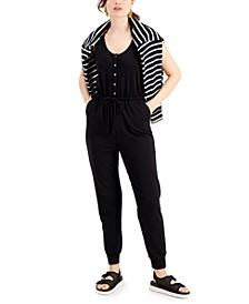 Petite Drawstring-Waist Button-Trim Jumpsuit, Created for Macy's