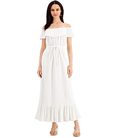 Cotton Off-The-Shoulder Eyelet Maxi Dress, Created for Macy's