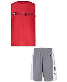 Baby Boys 2-Pc. Muscle T-Shirt & Mesh Basketball Shorts Set