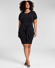 Trendy Plus Size Tie-Front Dress, Created for Macy's