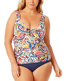 Plus Size Twist-Front Tankini & High-Waist Bikini Bottoms