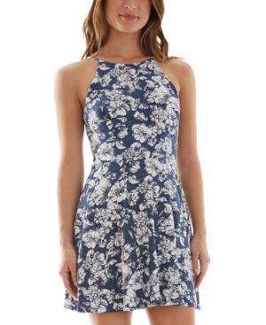 Juniors' Puff-Print Fit & Flare Dress