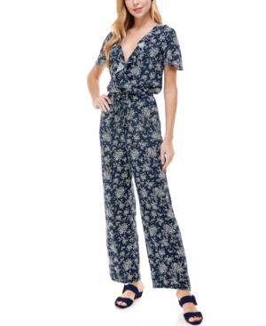 Juniors' Ruffled Floral-Print Jumpsuit